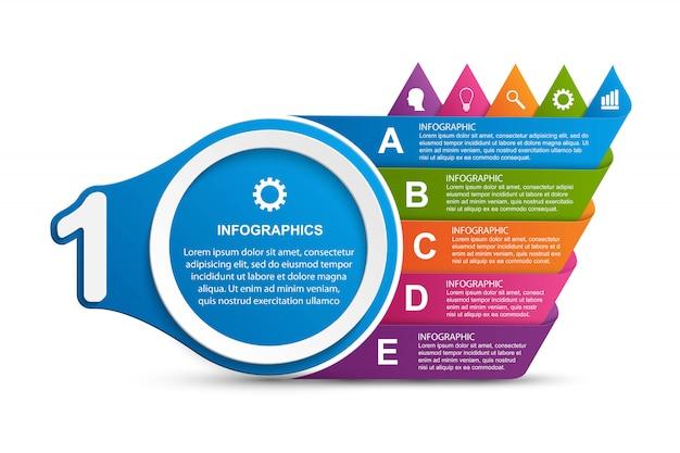 Infografiken-vorlage für abstrakte optionen. Premium Vektoren
