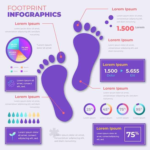 Infografiken-vorlage für farbverlaufsfußabdrücke Premium Vektoren