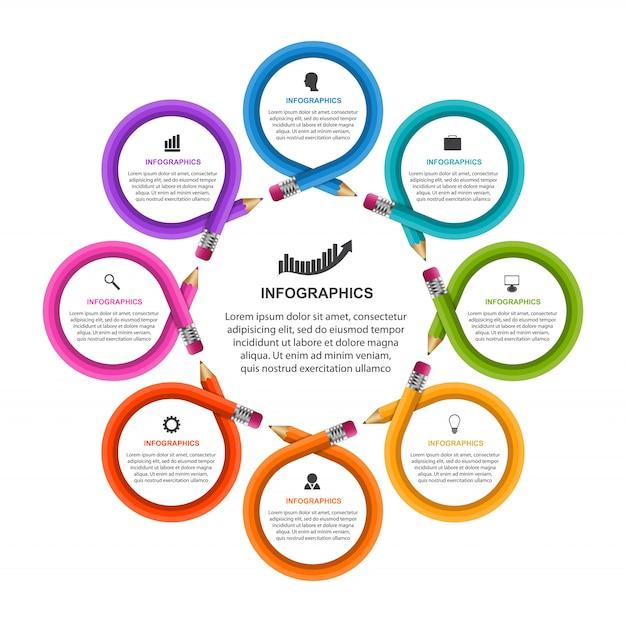 Infografiken vorlage mit bleistift. kann für bildungs- oder geschäftspräsentationen, informationsfahne verwendet werden. Premium Vektoren
