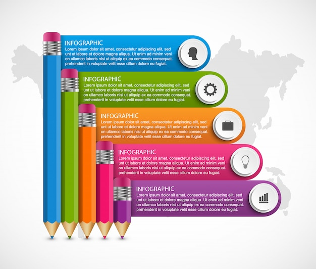 Infografiken vorlage mit bleistift. Premium Vektoren