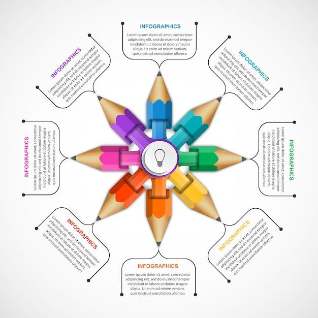 Infografiken vorlage mit buntstift. Premium Vektoren