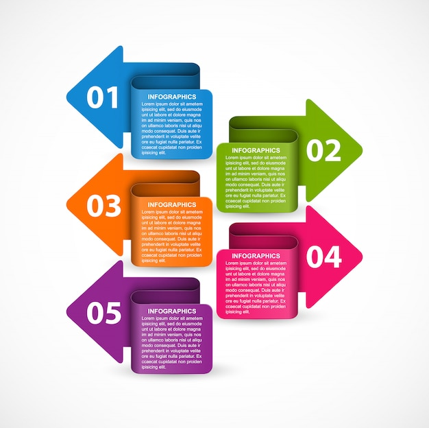 Infografiken vorlage mit pfeilen Premium Vektoren