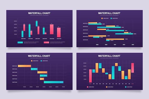 Infografiken wasserfallkarte sammlung Kostenlosen Vektoren