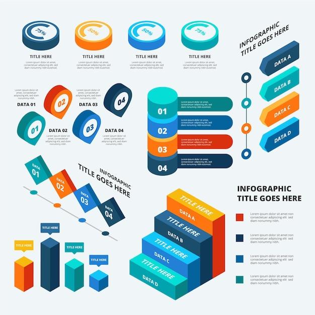Infografiken zur visualisierung isometrischer daten Kostenlosen Vektoren