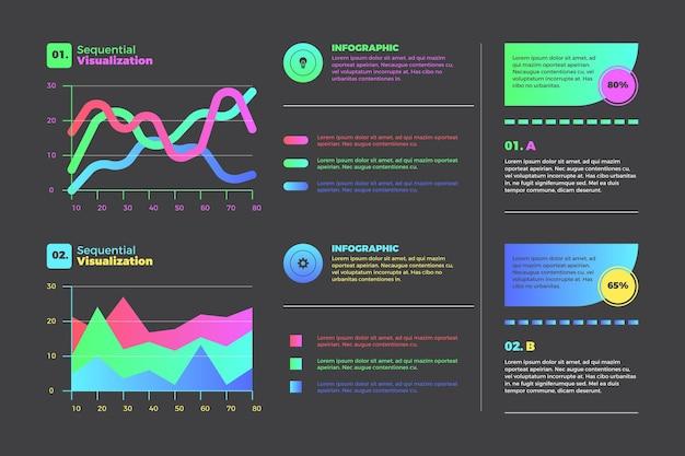 Infografiken zur visualisierung von gradienten-daten Kostenlosen Vektoren
