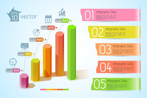 Infografikkonzept des geschäftsdiagramms mit bunten sechseckigen spalten des textes fünf textbandbanner und symbolillustration Kostenlosen Vektoren