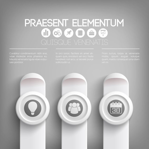Infografikschablone der geschäftspräsentation in den grauen farben mit textsymbolen auf kreisen und vertikalen rechtecken Premium Vektoren