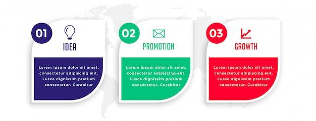 Infografikschablone der modernen geschäftspräsentation der drei schritte Kostenlosen Vektoren