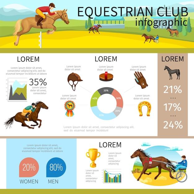 Infografikschablone des karikaturreiterclubs mit jockeys, die pferdekappenhandschuh-hufeisenmedaillen-bürstendiagrammgraphen reiten Kostenlosen Vektoren
