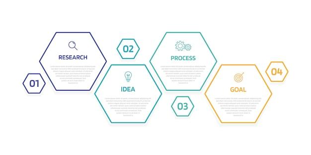 Infografikvorlage für geschäftsprozesse mit optionen oder schritten. modernes papierlayout mit dünner linie. abbildung grafik. Premium Vektoren