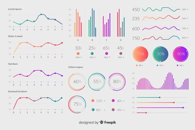 Infografische elemente mit farbverlauf Kostenlosen Vektoren