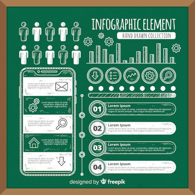 Infografische elementsammlung der tafel Kostenlosen Vektoren