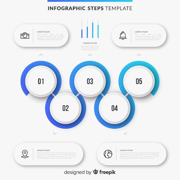 Infografische schritte mit farbverlauf Kostenlosen Vektoren