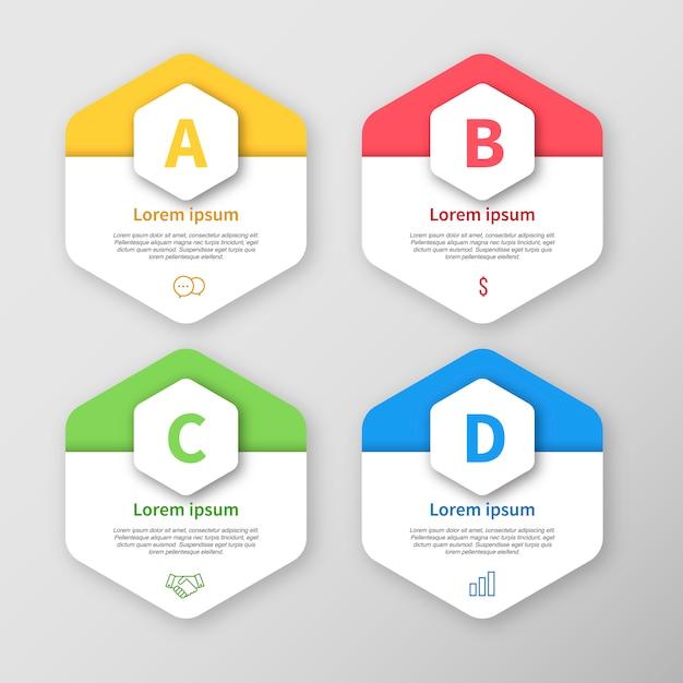 Infografische vorlage hexagon design Kostenlosen Vektoren