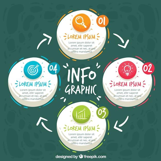 Infografische vorlage mit handgezeichneten stil Kostenlosen Vektoren
