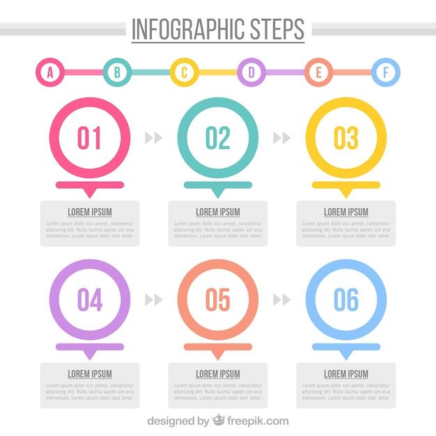 Infografische Vorlage mit Kreisen und niedlichen Stil Kostenlose Vektoren