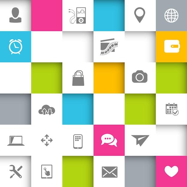 Infografischer hintergrund mit quadraten und symbolen Kostenlosen Vektoren