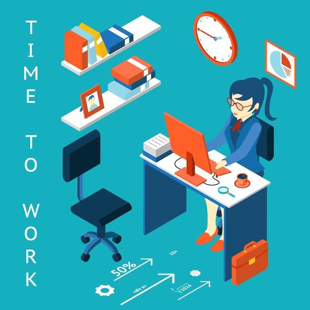 Infografisches element des geschäftsprozesses. zeit zu arbeiten konzept. arbeitsplatz, leistung. Kostenlosen Vektoren