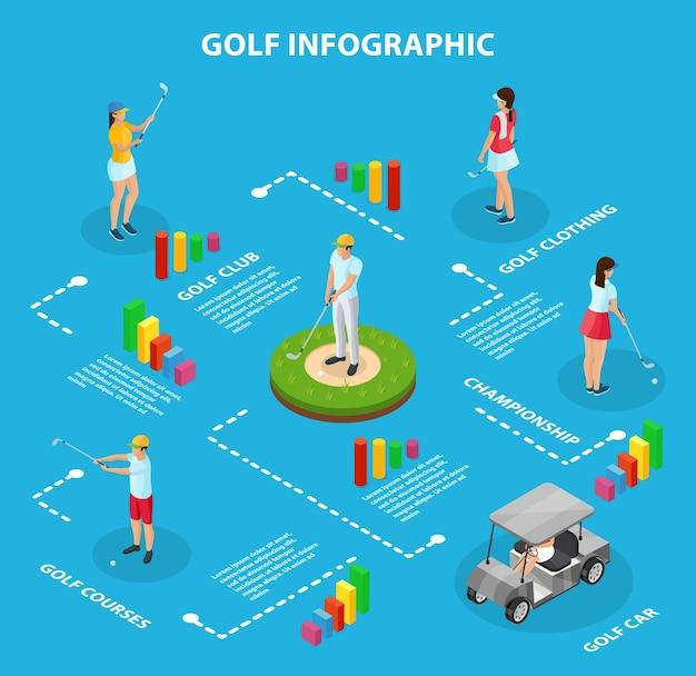 Infografisches konzept des isometrischen golfspiels mit wagengolfern, die sportkleidung tragen und keulen isoliert halten Kostenlosen Vektoren