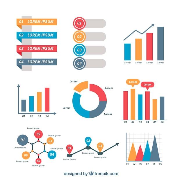 Infografisches paket mit buntem stil Kostenlosen Vektoren