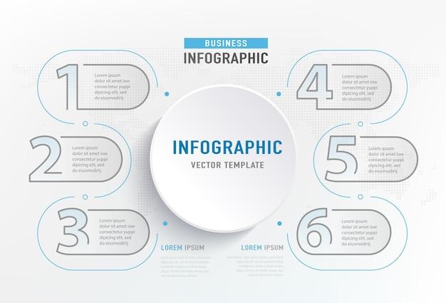 Infograph 6 schrittelement. kreisgrafikdiagrammdiagramm, geschäftsgraphendesign. Kostenlosen Vektoren