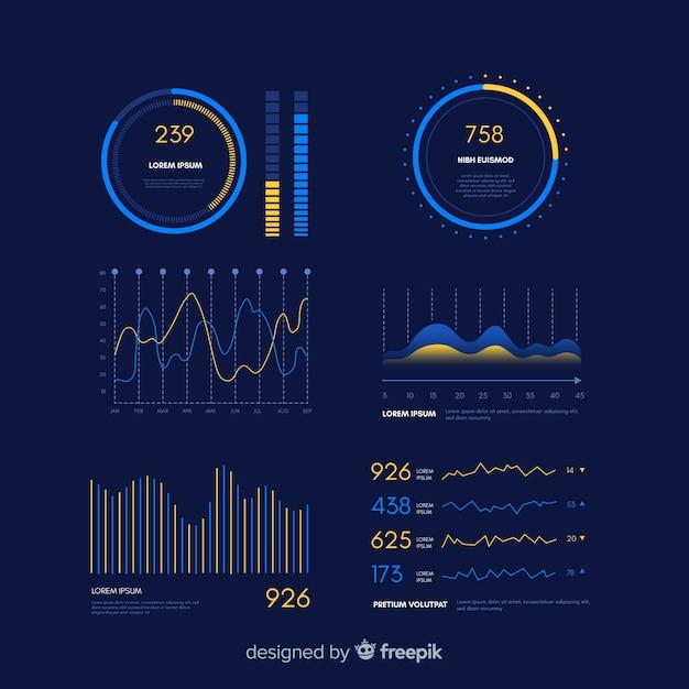 Infographic armaturenbrett-entwicklungsschablone der steigung Kostenlosen Vektoren