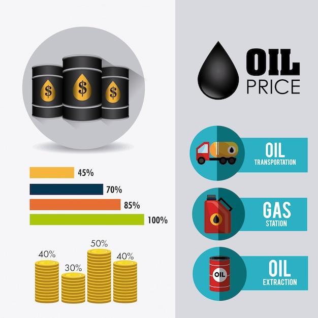 Infographic design der erdöl- und erdölindustrie Kostenlosen Vektoren