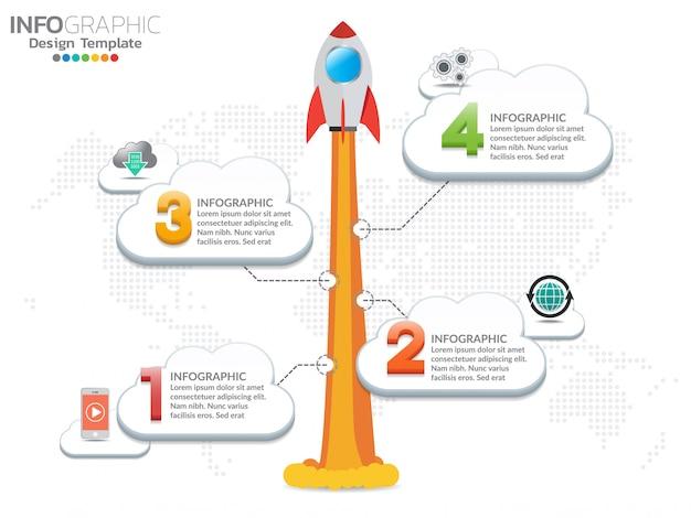 Infographic-design der rakete oder des raumschiffs mit 4 schritten startet durch die wolken. Premium Vektoren