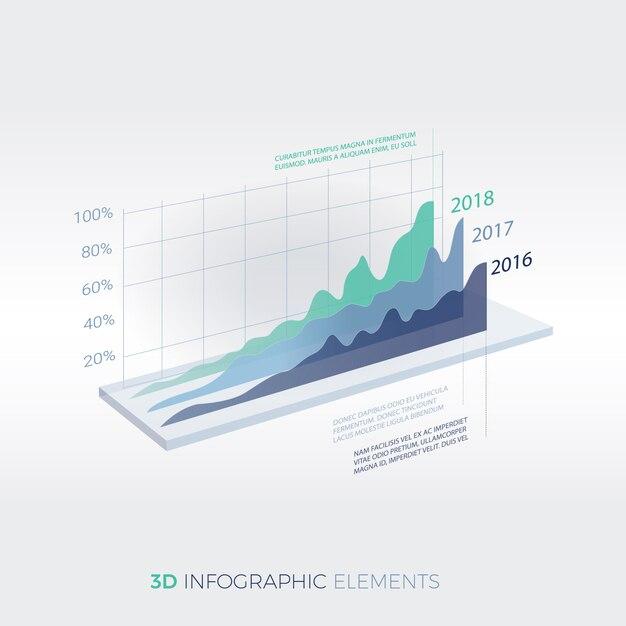 Infographic design-schablone der modernen elemente des firmenkundengeschäfts 3d Premium Vektoren