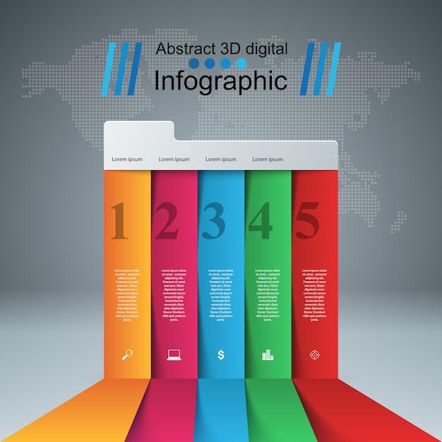 Infographic designschablone 3d und marketing-ikonen Premium Vektoren