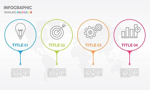 Infographic designschablone der zeitachse mit 4 wahlen Premium Vektoren