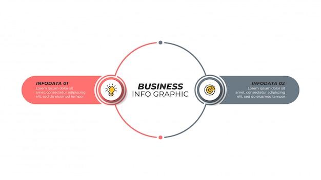Infographic designschablone des geschäfts mit marketing-ikonen und 2 wahlen, schritte. Premium Vektoren