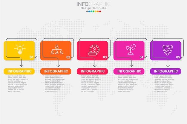 Infographic designvektor der zeitachse mit fünf schritten Premium Vektoren