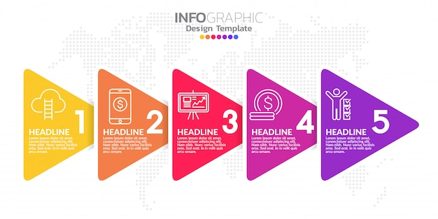 Infographic designvektor und -ikonen der zeitachse mit fünf schritten Premium Vektoren