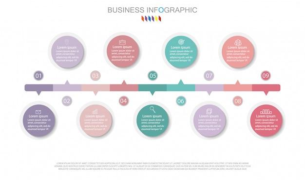Infographic-diagrammdesign geschäftskonzept mit 9 wahlen. Premium Vektoren