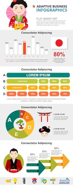 Infographic diagramme der japanischen kultur oder des analytikkonzeptes eingestellt Kostenlosen Vektoren