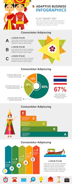 Infographic diagramme thailand-kultur- und -analysekonzeptes eingestellt Kostenlosen Vektoren