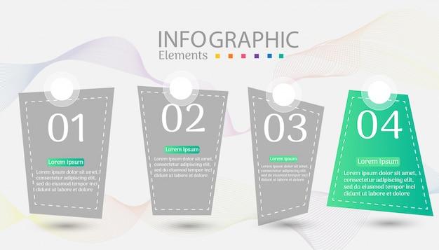 Infographic diagrammelement der wahlen der design-geschäftsschablone 4. Premium Vektoren