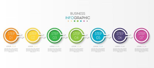 Infographic element der kreisgeschäftszeitachse mit wahlen oder schritten Premium Vektoren