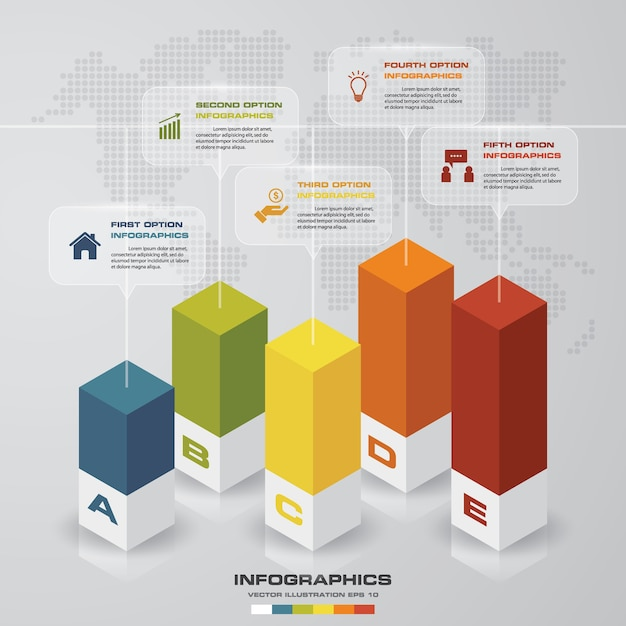 Infographic element mit 5 schritten für darstellung. Premium Vektoren