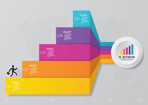 Infographic element mit 5 schritten treppe für darstellung. Premium Vektoren
