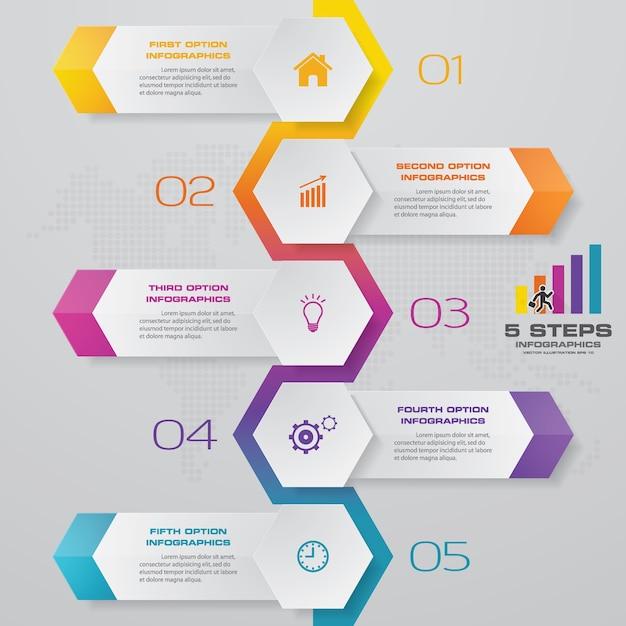 Infographic element mit 5 schritten zeitachsediagramm. Premium Vektoren