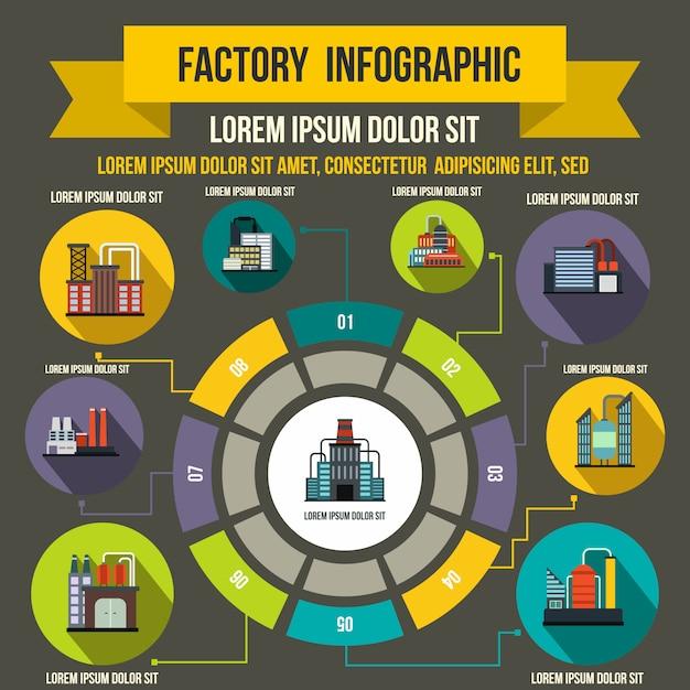 Infographic elemente der fabrik in der flachen art für jedes mögliches design Premium Vektoren