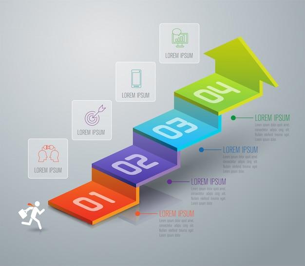 Infographic elemente der treppe mit 4 schritten geschäfts Premium Vektoren