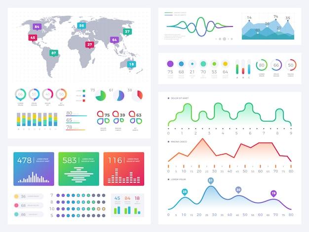 Infographic elemente des geschäfts, flüssige grafiken, börsenberichte und arbeitsflussdiagrammvektorsatz Premium Vektoren