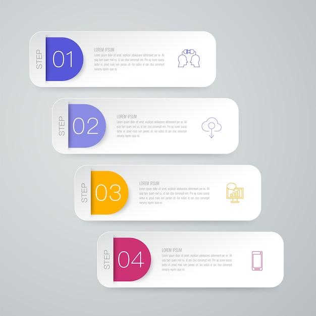 Infographic elemente mit 4 arbeitsschritten für die darstellung Premium Vektoren