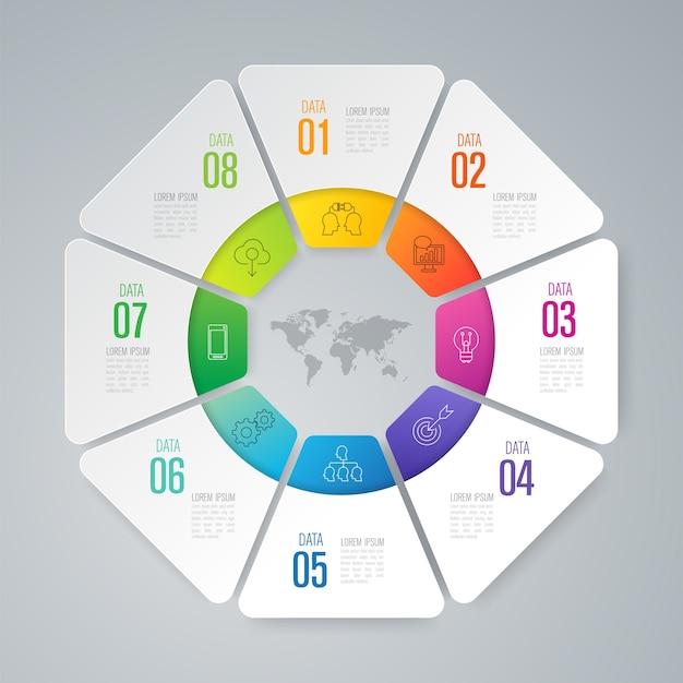 Infographic elemente mit 8 arbeitsschritten für die darstellung Premium Vektoren