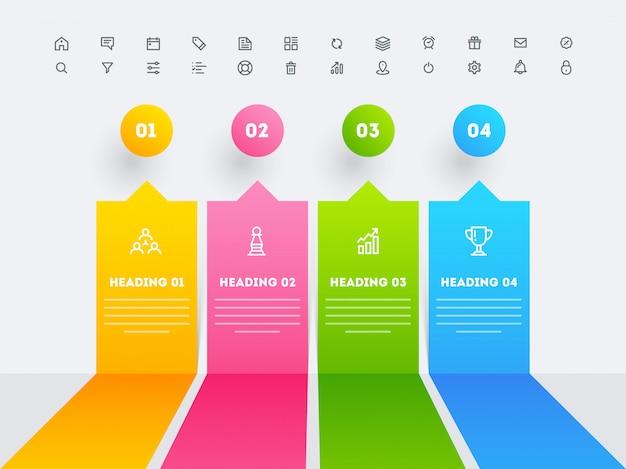 Infographic elemente mit vier verschiedenen schlagzeilenschritten für geschäfts- oder unternehmenssektor. Premium Vektoren