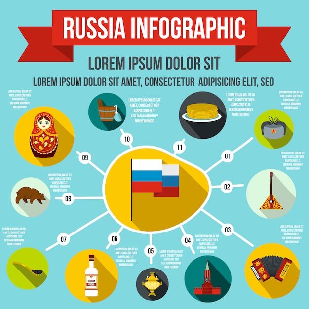 Infographic elemente russlands in der flachen art für irgendein design Premium Vektoren