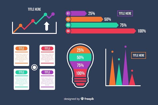 Infographic elementsammlung der flachen steigung Kostenlosen Vektoren